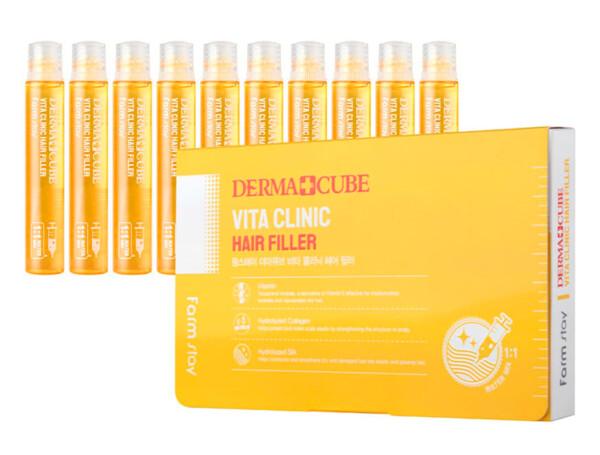 Витаминный филлер для волос FarmStay Derma Cube Vita Clinic Hair Filler, 10шт по 13мл - Фото №1