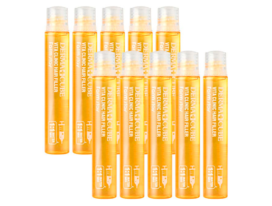 Витаминный филлер для волос FarmStay Derma Cube Vita Clinic Hair Filler, 10шт по 13мл - Фото №2
