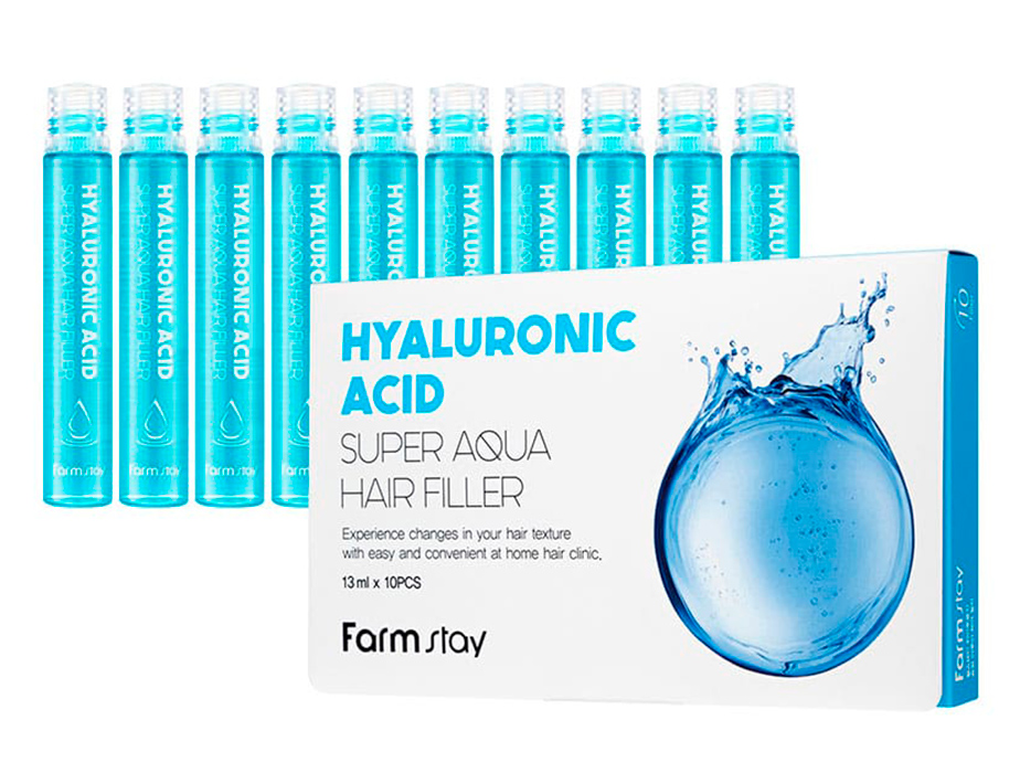 Увлажняющий филлер с гиалуроновой кислотой FarmStay Hyaluronic Acid Super Aqua Hair Filler, 10шт по 13мл - Фото №1