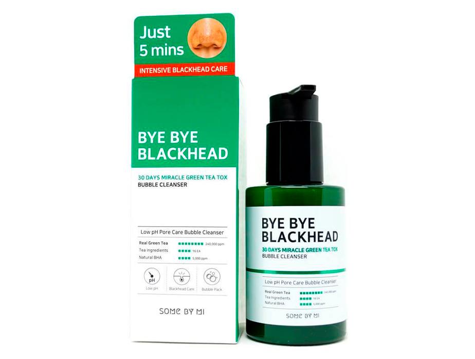 Кислородная маска-пенка для лица от чёрных точек Some By Mi Bye Bye Blackhead 30 Days Miracle Green Tea Tox Bubble Cleanser, 120мл - Фото №2
