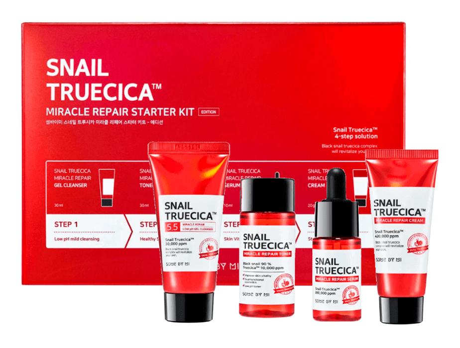 Набор из 4 миниатюр восстанавливающих средств с муцином улитки Some By Mi Snail Truecica Miracle Repair Starter Kit - Фото №1