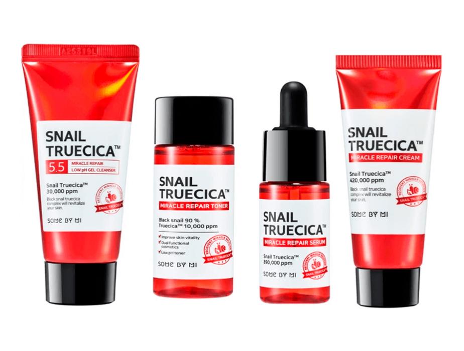 Набор из 4 миниатюр восстанавливающих средств с муцином улитки Some By Mi Snail Truecica Miracle Repair Starter Kit - Фото №2