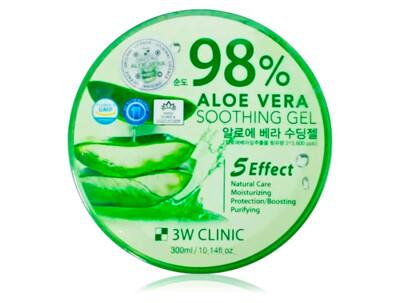 Универсальный гель для лица и тела с экстрактом алоэ вера 3W Clinic 98% Aloe Vera Soothing Gel, 300мл - Фото №1