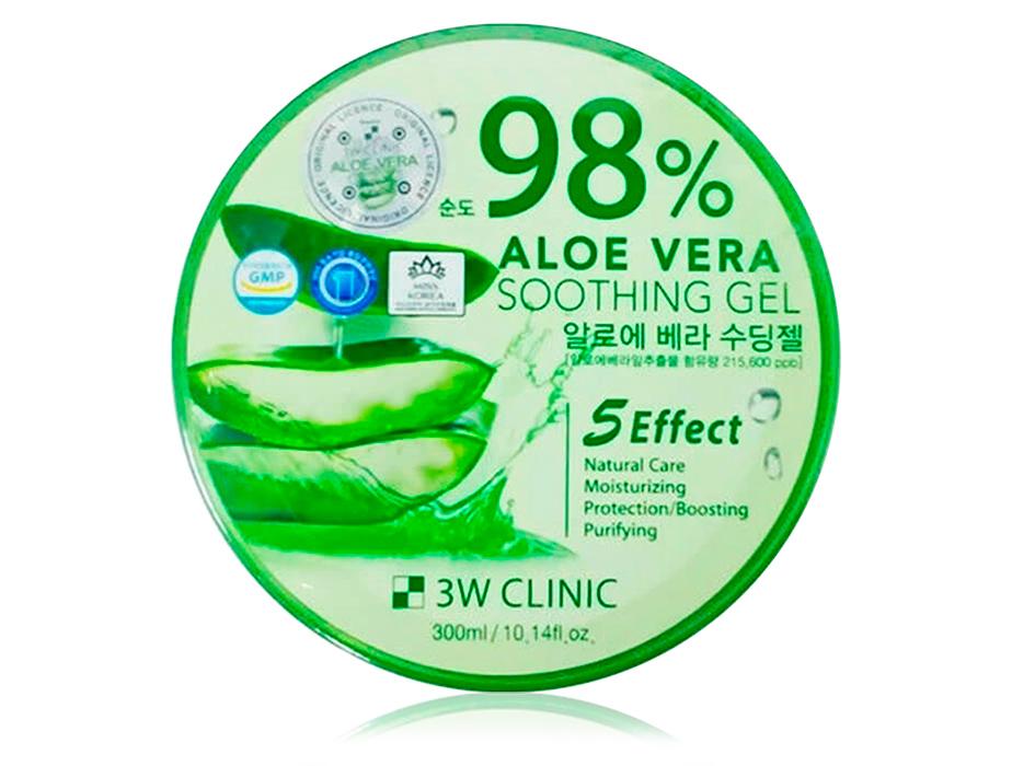 3W Clinic Aloe Vera Soothing Gel 98%, 300 ml - Фото №1