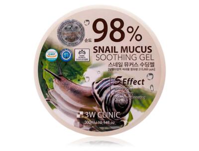 Многофункциональный гель для лица и тела с экстрактом слизи улитки 3W Clinic 98% Snail Mucus Soothing Gel, 300мл - Фото №1