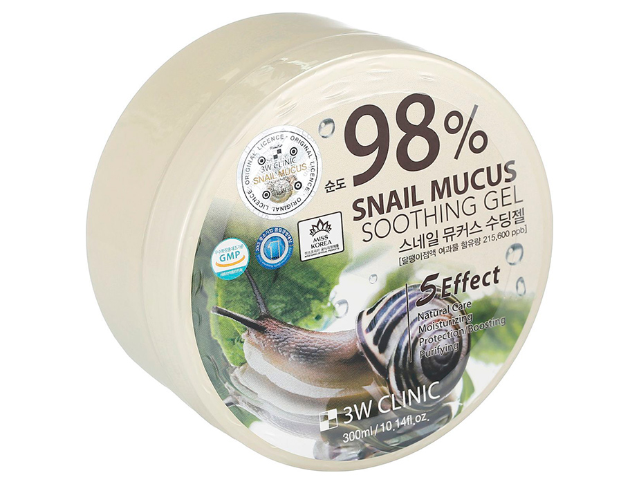 3W Clinic Snail Mucus Soothing Gel 98%, 300 ml - Фото №2