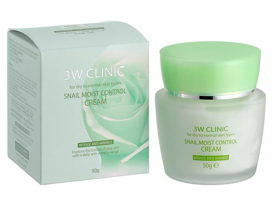 Антивозрастной крем для лица с экстрактом слизи улитки 3W Clinic Snail Moist Control Cream, 50мл - Фото №2