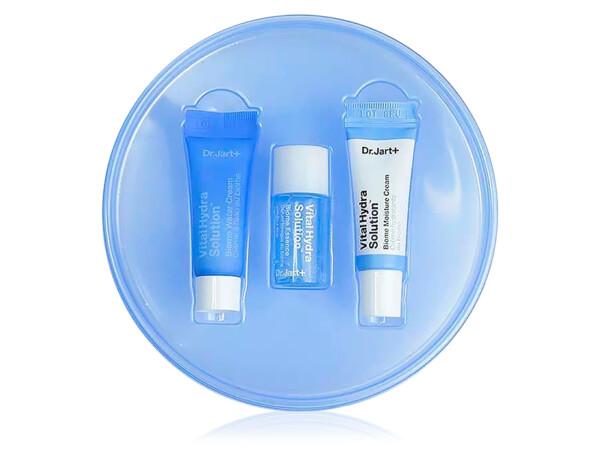 Набор миниатюр для глубокого увлажнения кожи лица: крем-гель, эссенция и крем Dr. Jart+ Vital Hydra Solution Biome Trial Kit - Фото №1