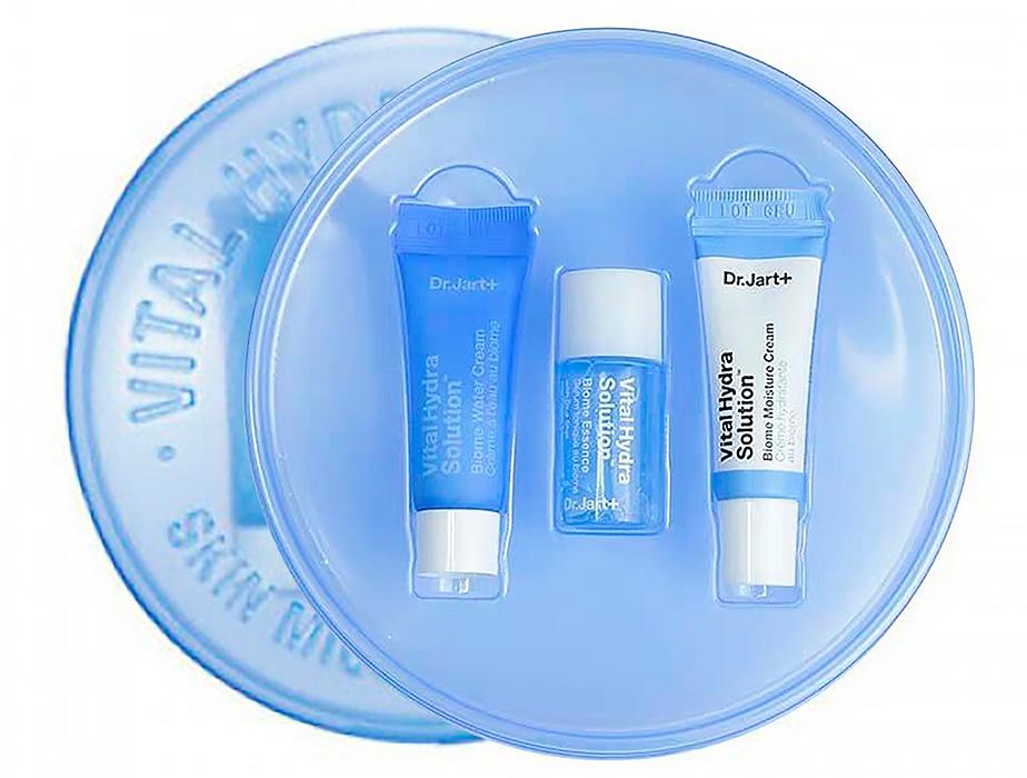 Набор миниатюр для глубокого увлажнения кожи лица: крем-гель, эссенция и крем Dr. Jart+ Vital Hydra Solution Biome Trial Kit - Фото №2