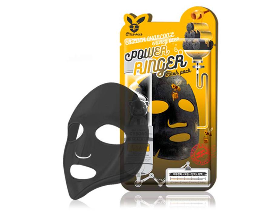 Очищающая питательная маска для лица с древесным углем и медом Elizavecca Black Charcoal Honey Deep Power Ringer Mask Pack