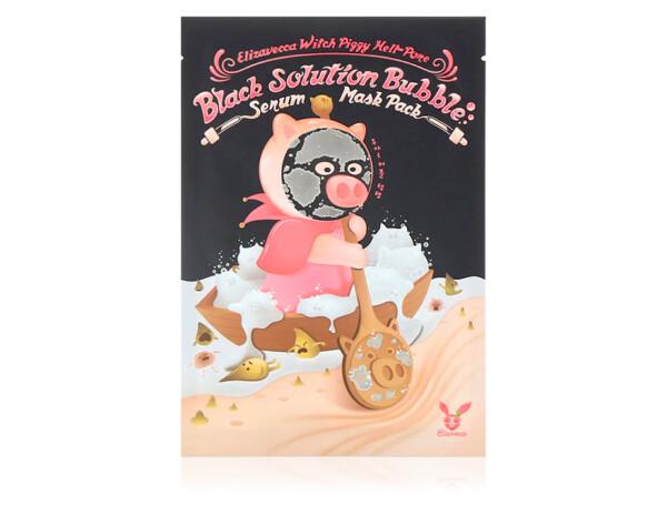 Кислородная маска для лица от черных точек Elizavecca Witch Piggy Hell-Pore Black Solution Bubble Serum Mask Pack - Фото №1