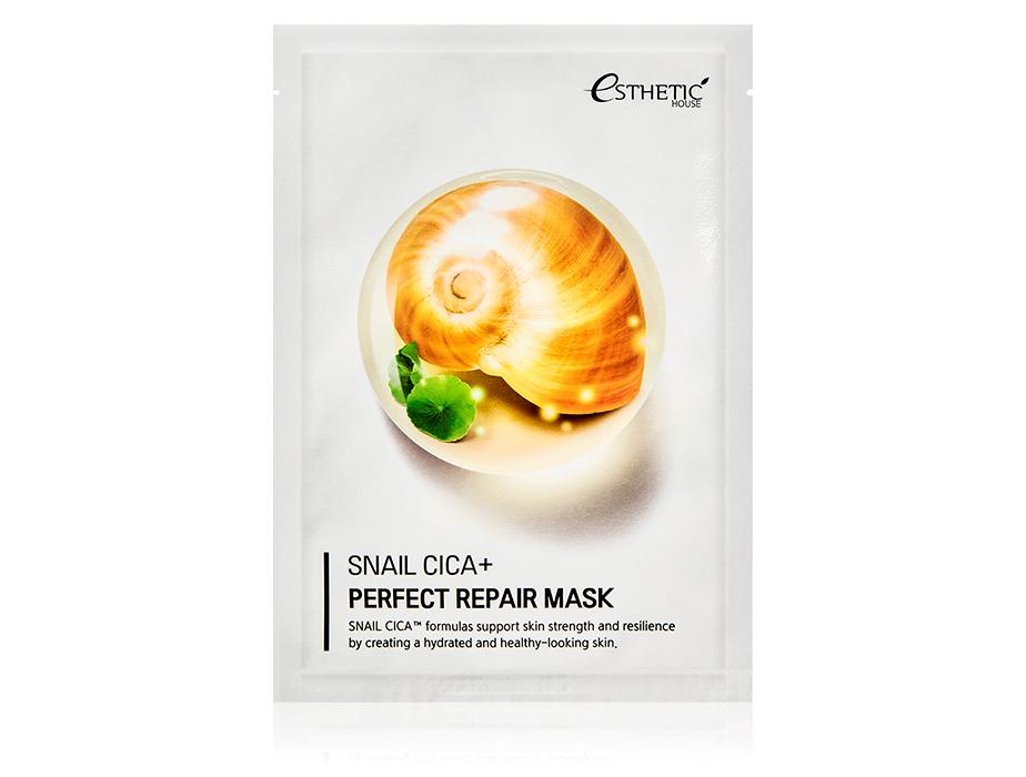 Восстанавливающая маска для лица с экстрактом муцина улитки Esthetic House Snail Cica+ Perfect Repair Mask