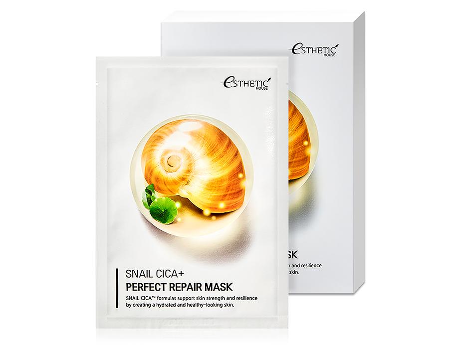 Восстанавливающая маска для лица с экстрактом муцина улитки Esthetic House Snail Cica+ Perfect Repair Mask, 5шт