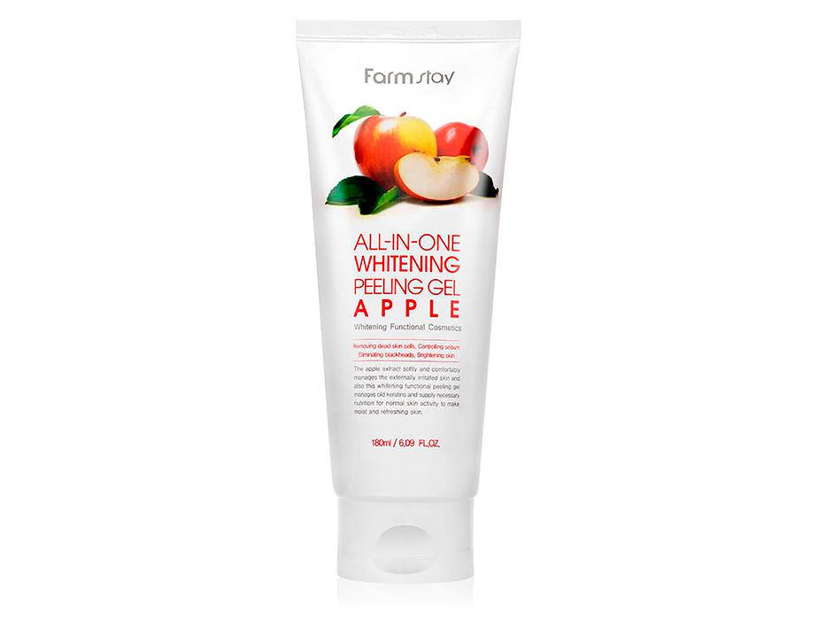 Осветляющий пилинг для лица с экстрактом яблока FarmStay All-In One Whitening Peeling Gel Cream Apple, 180мл - Фото №1