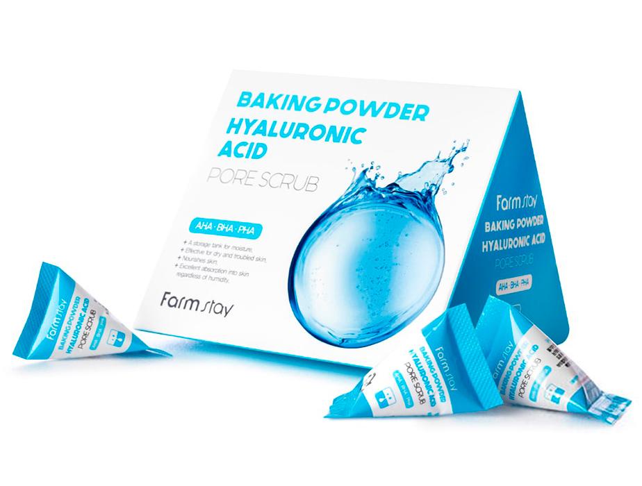 Содовый скраб для лица с гиалуроновой кислотой FarmStay Baking Powder Hyaluronic Acid Pore Scrub, 25шт по 7г