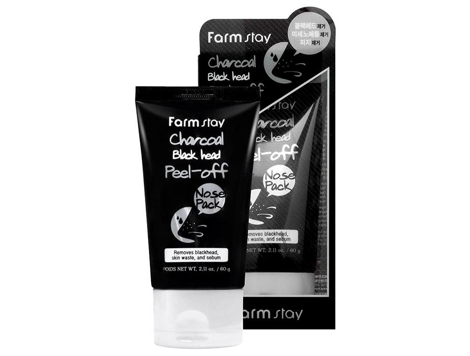 Маска-пленка для очищения носа с древесным углем FarmStay Charcoal Black Head Peel-off Nose Pack, 60г - Фото №2
