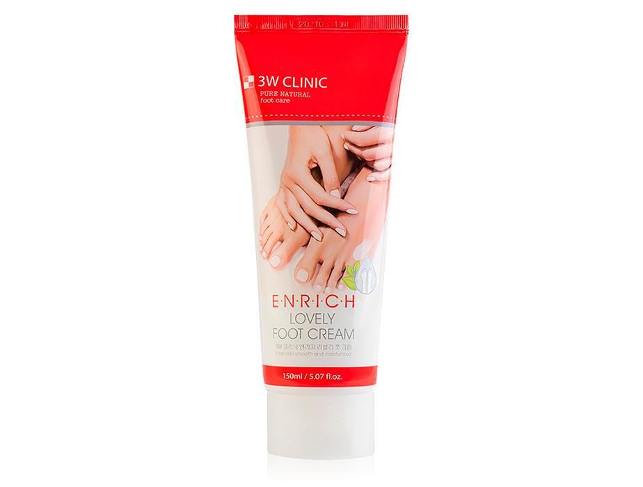 Восстанавливающий крем для уставших ног 3W Clinic Enrich Lovely Foot Cream, 150мл - Фото №1