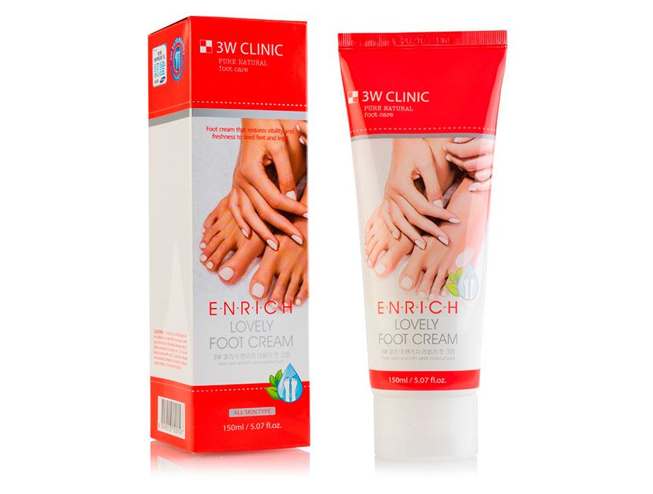 Восстанавливающий крем для уставших ног 3W Clinic Enrich Lovely Foot Cream, 150мл - Фото №2