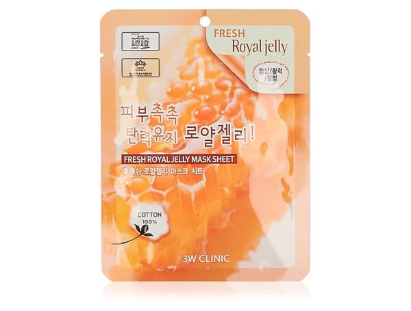 Тканевая маска для лица с маточным молочком 3W Clinic Fresh Royal Jelly Mask Sheet - Фото №1