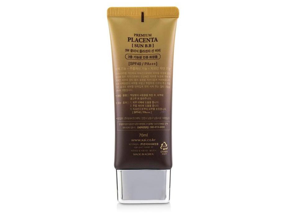 Солнцезащитный BB крем для лица с экстрактом плаценты 3W Clinic Premium Placenta Sun BB Cream SPF 40, 70мл - Фото №2