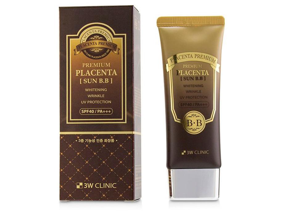 Солнцезащитный BB крем для лица с экстрактом плаценты 3W Clinic Premium Placenta Sun BB Cream SPF 40, 70мл - Фото №3