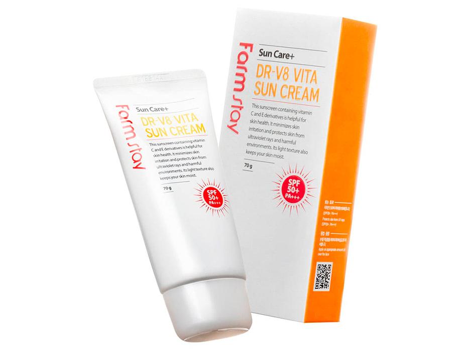 Витаминизированный солнцезащитный крем для лица FarmStay DR.V8 Vita Sun Cream SPF 50+, 70мл - Фото №3