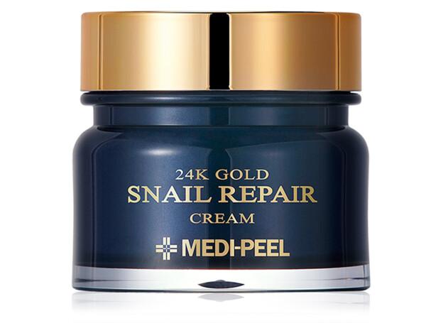 Омолаживающий крем для лица с коллоидным золотом и муцином улитки Medi-Peel 24k Gold Snail Repair Cream, 50мл - Фото №1