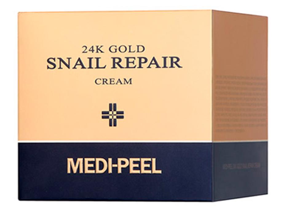 Омолаживающий крем для лица с коллоидным золотом и муцином улитки Medi-Peel 24k Gold Snail Repair Cream, 50мл - Фото №2