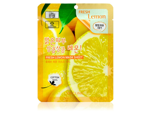 Тканевая маска для лица с экстрактом лимона 3W Clinic Fresh Lemon Mask Sheet - Фото №1