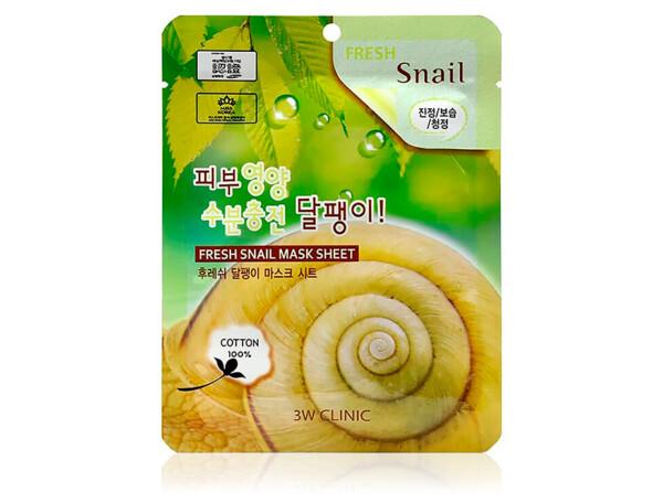 Тканевая маска для лица с экстрактом улиточного муцина 3W Clinic Fresh Snail Mucus Mask Sheet - Фото №1