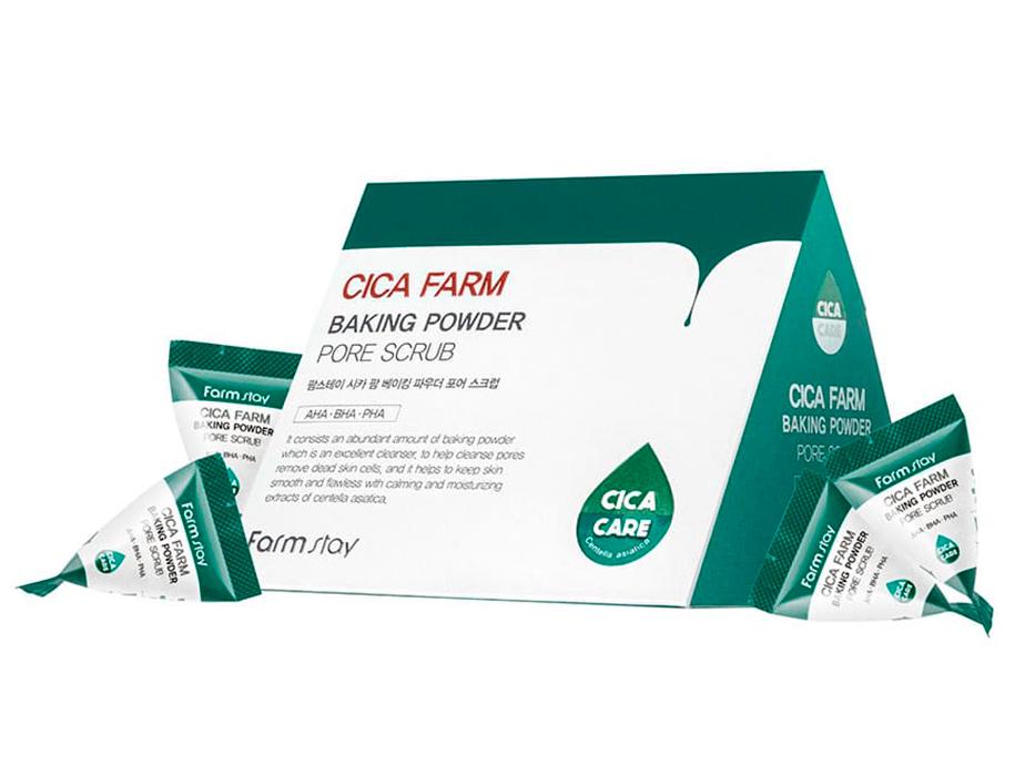 Содовый скраб для лица с центеллой азиатской FarmStay Cica Farm Baking Powder Pore Scrub, 25шт по 7г