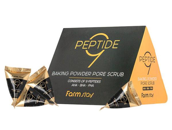 Содовый скраб для лица с пептидным комплексом и аминокислотами FarmStay Peptide 9 Baking Powder Pore Scrub, 25шт по 7г - Фото №1