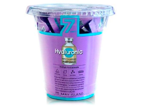 Увлажняющая сыворотка для лица с гиалуроновой кислотой May Island 7 Days Highly Concentrated Hyaluronic Ampoule, 12шт по 3г - Фото №1