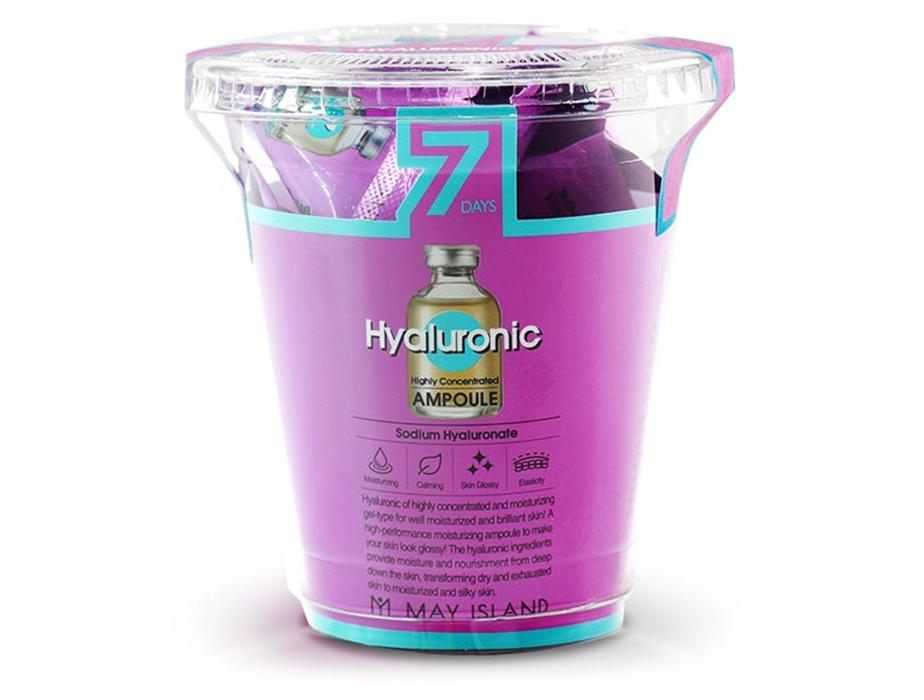 Увлажняющая сыворотка для лица с гиалуроновой кислотой May Island 7 Days Highly Concentrated Hyaluronic Ampoule, 12шт по 3г - Фото №2