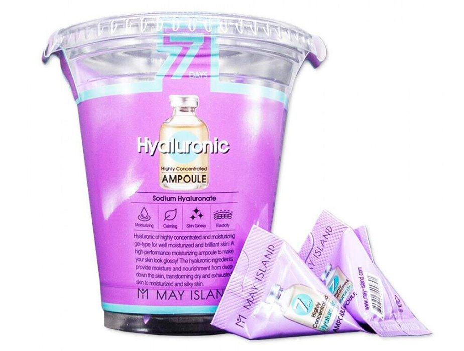 Увлажняющая сыворотка для лица с гиалуроновой кислотой May Island 7 Days Highly Concentrated Hyaluronic Ampoule, 12шт по 3г - Фото №3