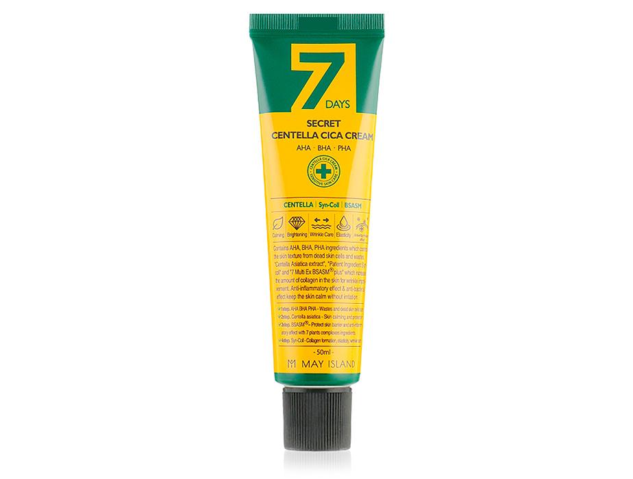 Восстанавливающий крем для проблемной кожи с экстрактом центеллы May Island 7 Days Secret Centella Cica Cream, 50мл - Фото №1