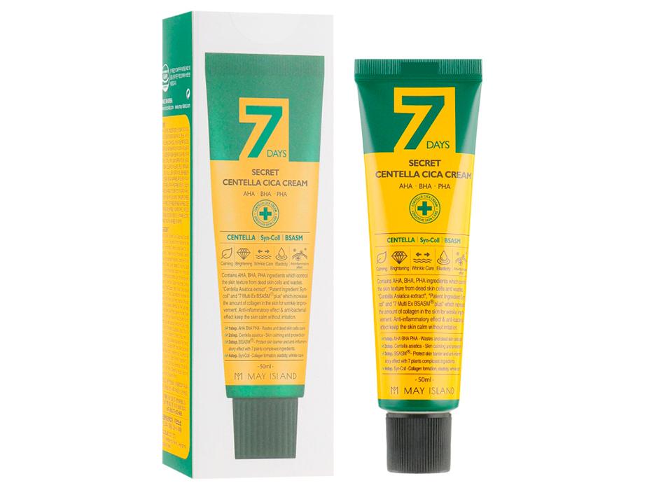 Восстанавливающий крем для проблемной кожи с экстрактом центеллы May Island 7 Days Secret Centella Cica Cream, 50мл - Фото №2