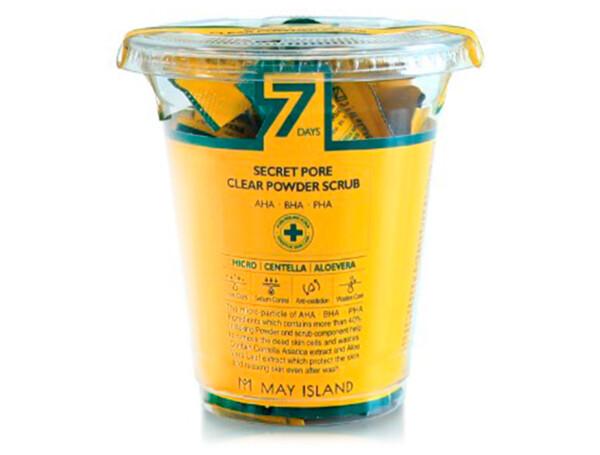 Скраб для глубокого очищения пор с центеллой May Island 7 Days Secret Pore Clear Powder Scrub, 12шт по 5г - Фото №1
