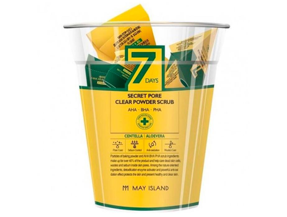 Скраб для глубокого очищения пор с центеллой May Island 7 Days Secret Pore Clear Powder Scrub, 12шт по 5г - Фото №3