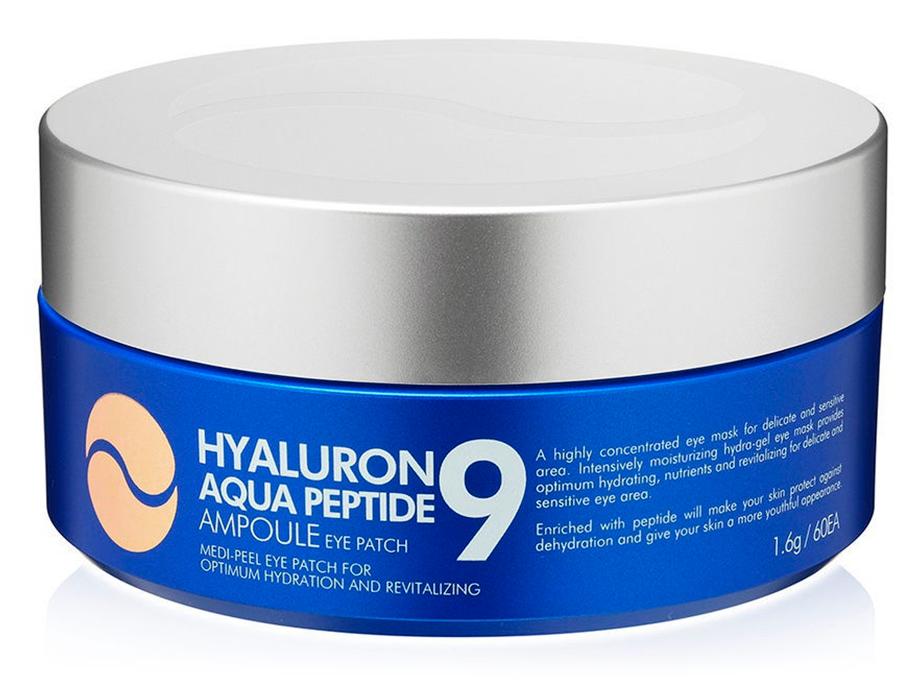 Увлажняющие гидрогелевые патчи под глаза с пептидами Medi-Peel Hyaluron Aqua Peptide 9 Ampoule Eye Patch, 60шт - Фото №2