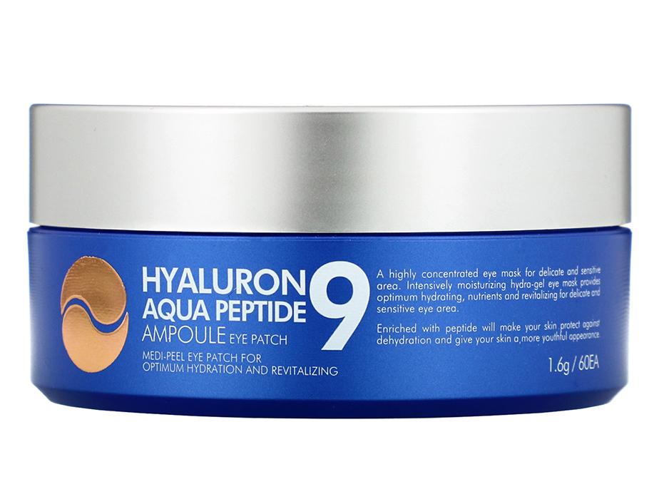 Увлажняющие гидрогелевые патчи под глаза с пептидами Medi-Peel Hyaluron Aqua Peptide 9 Ampoule Eye Patch, 60шт - Фото №3