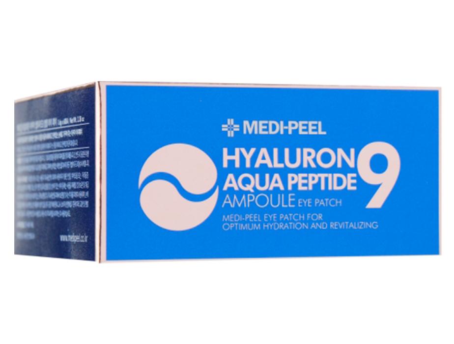 Увлажняющие гидрогелевые патчи под глаза с пептидами Medi-Peel Hyaluron Aqua Peptide 9 Ampoule Eye Patch, 60шт - Фото №4