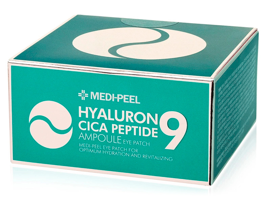 Успокаивающие гидрогелевые патчи под глаза с пептидами и центеллой Medi-Peel Hyaluron Cica Peptide 9 Ampoule Eye Patch, 60шт - Фото №4