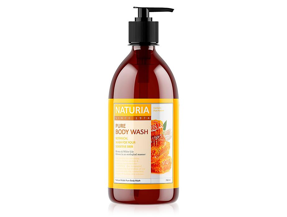 Увлажняющий гель для душа с ароматом лилии и меда Naturia Pure Body Wash Honey & White Lily, 750мл