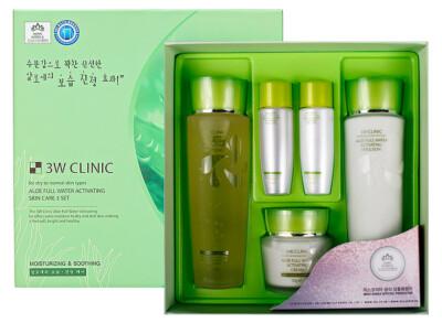 Увлажняющий набор для ухода за лицом с экстрактом алоэ 3W Clinic Aloe Full Water Activating Skin 3 Kit Set - Фото №1