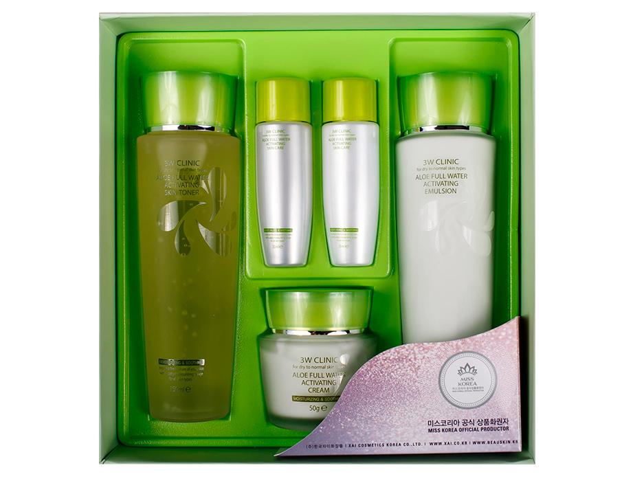 Увлажняющий набор для ухода за лицом с экстрактом алоэ 3W Clinic Aloe Full Water Activating Skin 3 Kit Set - Фото №2