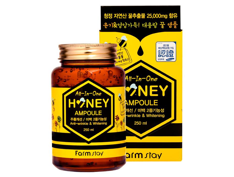 Многофункциональная сыворотка для лица с экстрактом меда FarmStay AII-In-One Honey Ampoule, 250мл - Фото №2