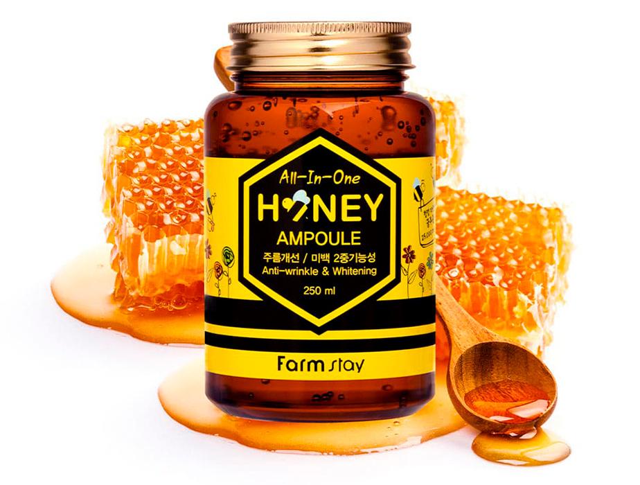 Многофункциональная сыворотка для лица с экстрактом меда FarmStay AII-In-One Honey Ampoule, 250мл - Фото №4
