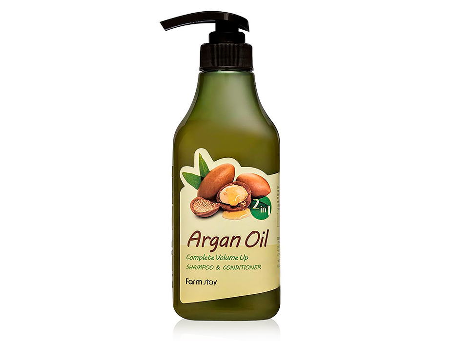Шампунь-кондиционер для волос с aргановым маслом FarmStay Argan Oil Complete Volume Up Shampoo & Conditioner, 530мл - Фото №1