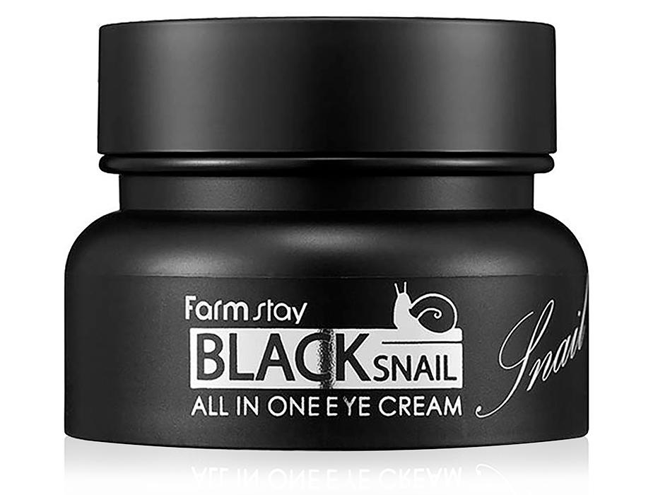 Многофункциональный крем для век с фильтратом улиточной слизи FarmStay Black Snail All In One Eye Cream, 50мл - Фото №1